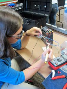 DC soldering in tech class! :) Here I am making a shunt.